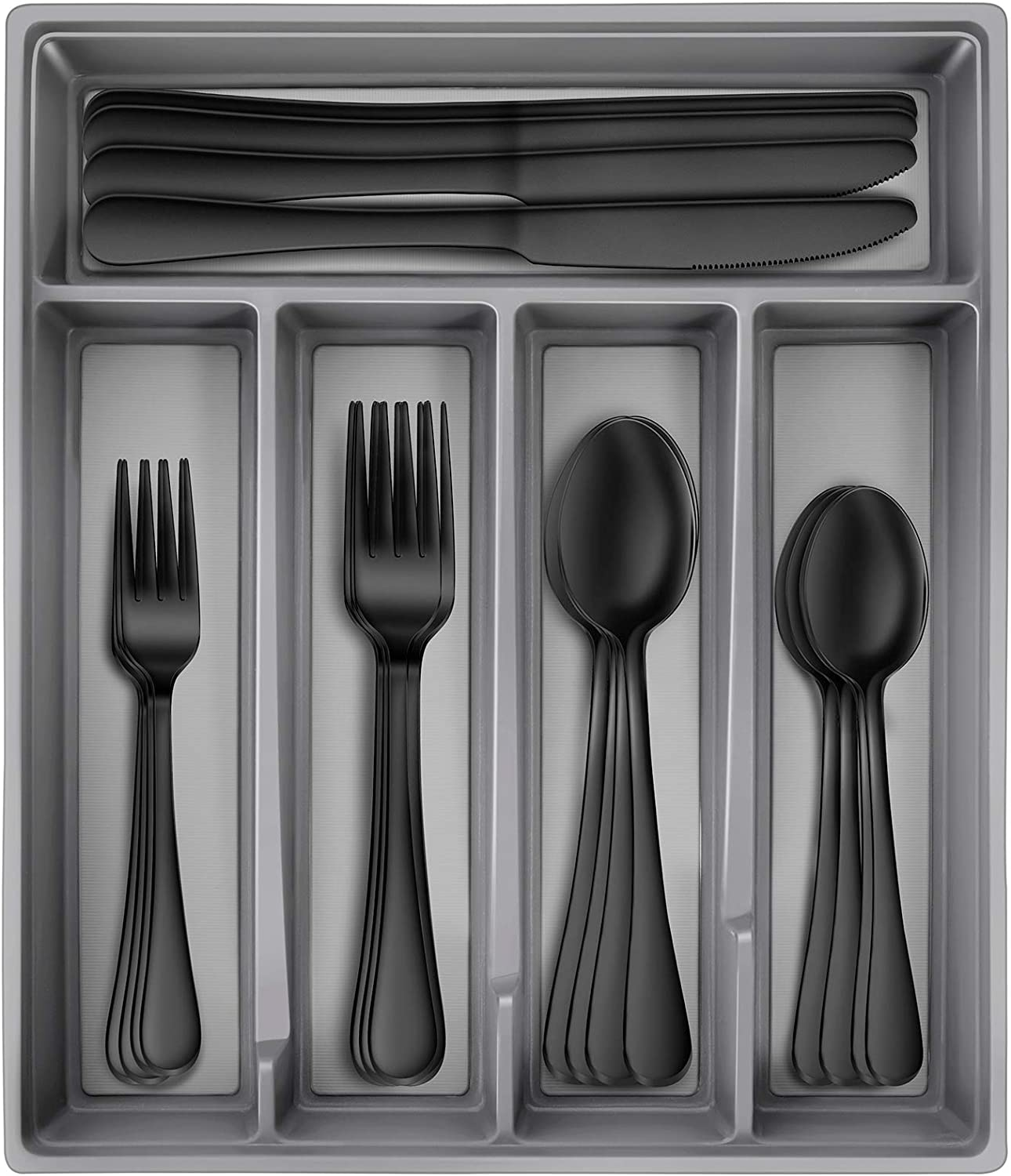 Hiware Black Silverware Set with Tray, 20-Piece Stainless Steel Flatware Cutlery Set Service for 4, Mirror Finish, Dishwasher Safe