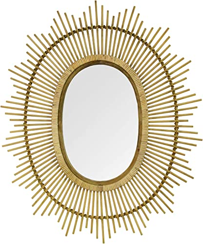 Stratton Home D cor Stratton Home Decor 36 Kelly Bamboo Oval Wall Mirror, Light Brown