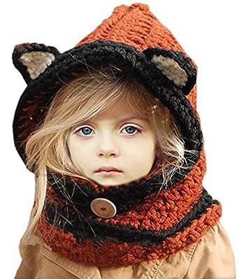 Superora Bonnet de Laine Tricote Renard Ensemble Bonnet Echarpe Hiver pour  Enfant Unisexe  Amazon.fr  Vêtements et accessoires 566954a9e56