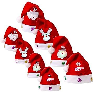 8 Piezas de Sombrero de Navidad Gorra de Terciopelo de LED Luz Sombrero de  Patrón de 1221f993aff