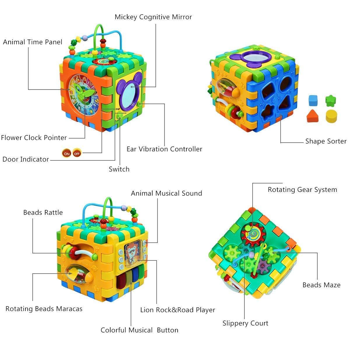 INvench Aktivit/ät W/ürfel Baby Kinderspielzeug Motorikw/ürfel Vielf/ältiges Spielerlebnis auf Sechs Spielfl/ächen Entdecken Spielzeug Lernuhr Geburtstaggeschenk
