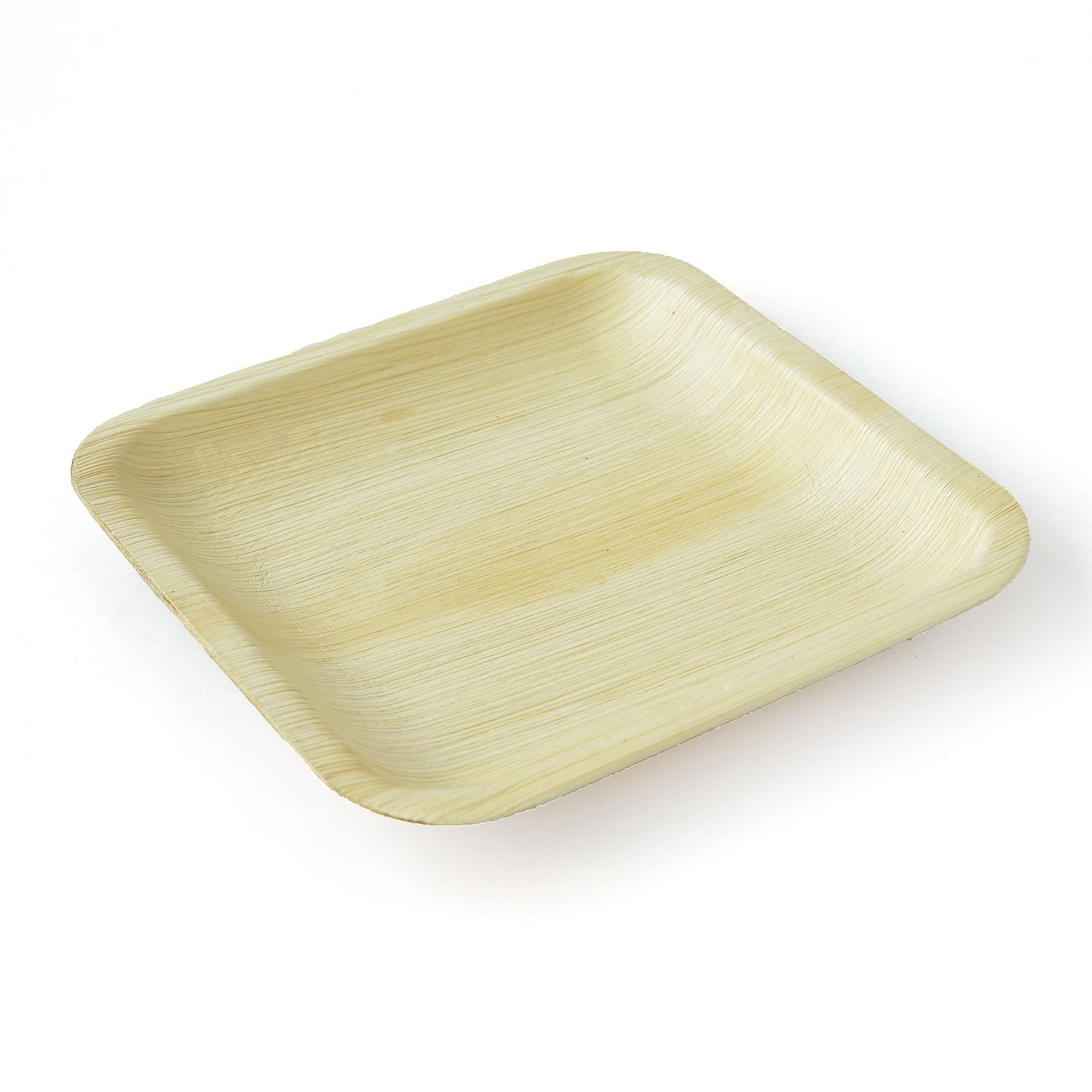 Leaftrend: Eco-friendly Disposable Palm Leaf Plates, Wedding and Party Plates, 8 Inch Square with Rib Plate - 25 Pcs
