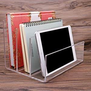 Clear Acrylic File Folder Holder Rack,File Folder Sorter for Document Paper Letter Book Envelope Laptop Organizer, Office File Organizer Stand Rack on Office Desktop
