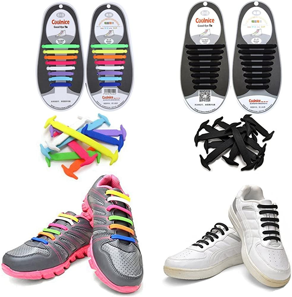 Lazy No Tie Elastic Silicone Shoe Lace For Adults Trainers Kids Shoes /& U8L0