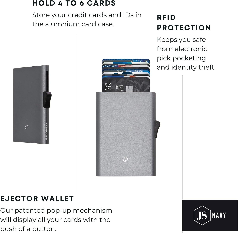 C-Secure Slim Credit Card Holder for Women RFID Aluminium Card Case