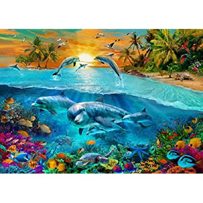 Adult Jigsaw Puzzle 500 Piece Wooden Puzzle Dolphin Marine Life Pattern for Teenagers and Adults,Very Good Educational Game: Toys & Games