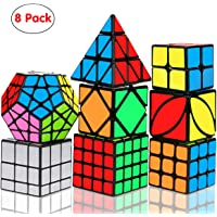 Aiduy Speed Cube Set, 8 Pack Magic Cube Bundle 2x2 3x3 4x4 Pyramid Megaminx Skew Mirror Ivy Smooth Sticker Cube, 3D Puzzles Game Toys for Kids and Adults