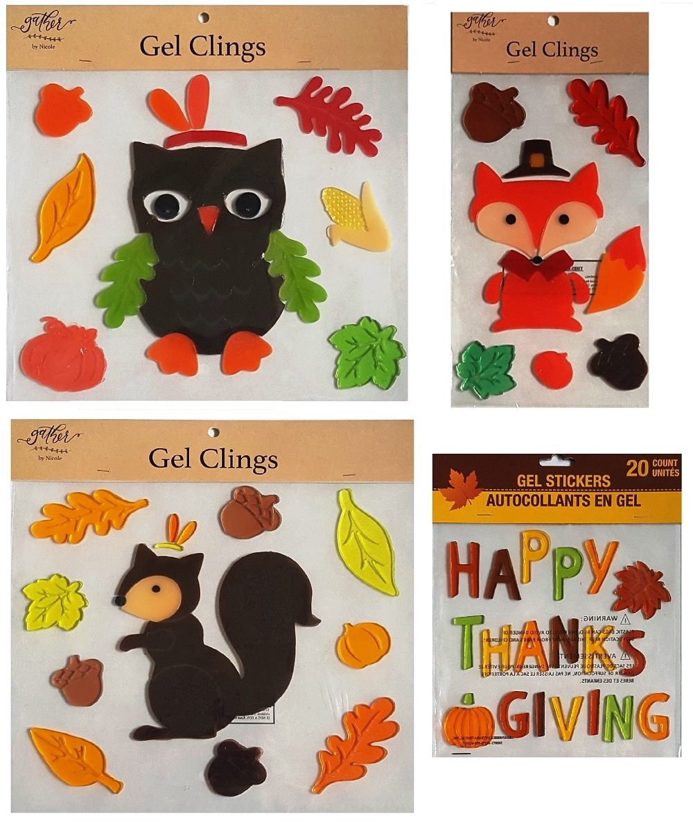Fall and Thanksgiving Woodland Forest Animals Decorative Window Gel Clings - Squirrel, Owl, Fox, Acorns, Fall Leaves, Happy Thanksgiving, and More – Bundle of 4 Sheets