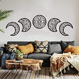 Moon decoration wall decoration, moon appearance wall art decoration (5 pieces) Nordic wood moon appearance natural design moon interior, bohemian style bedroom home wall decoration (Black)