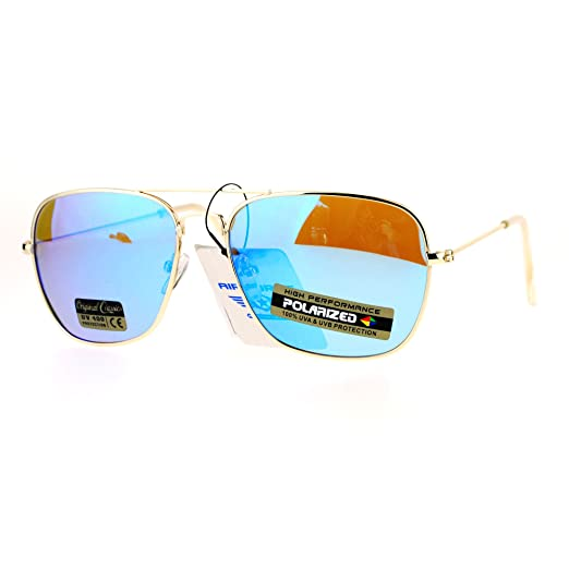 d3123a6eee Air Force Polarized Sunglasses Thin Light Square Gold Metal Aviators Blue  Mirror