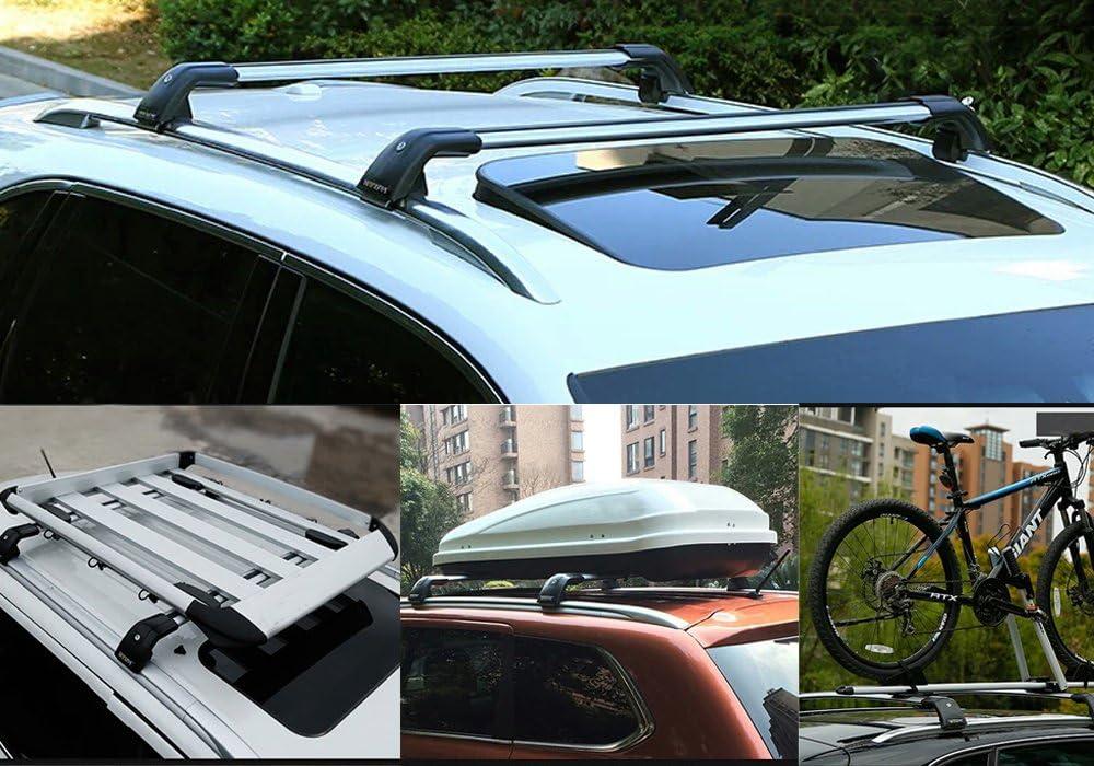 Lequer Cross Bars Crossbars Fits for Hyundai Santa Fe Sport 2013-2018 Baggage Carrier Luggage Roof Rack Rail Lockable Adjustable Silver