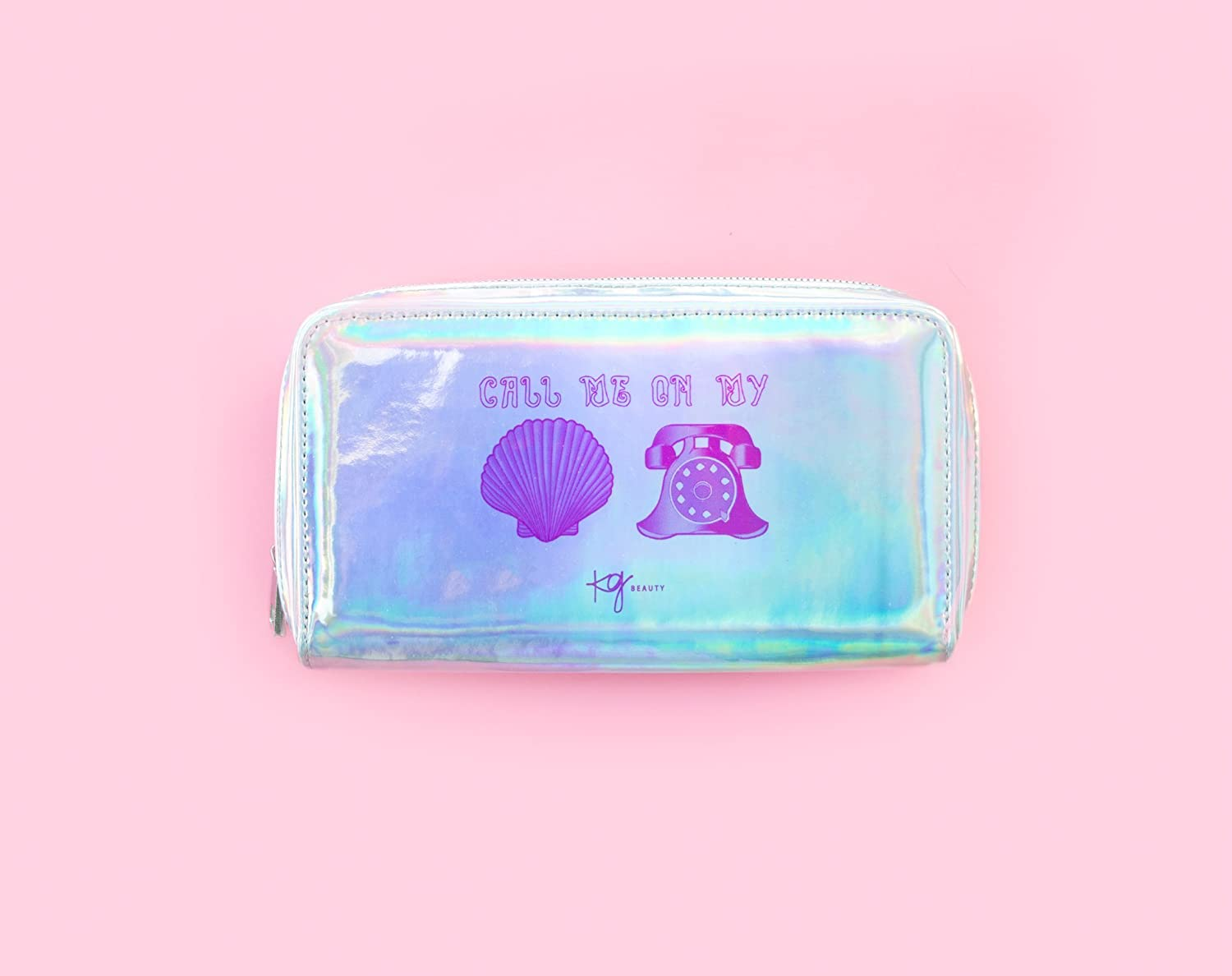 "Holographic Mermaid Makeup Bag Toiletry Travel Bag Organizer ""Call Me On My Shell Phone"" Cosmetic Bag Mermaid Makeup Brush Bag Organizer by Kg Beauty"