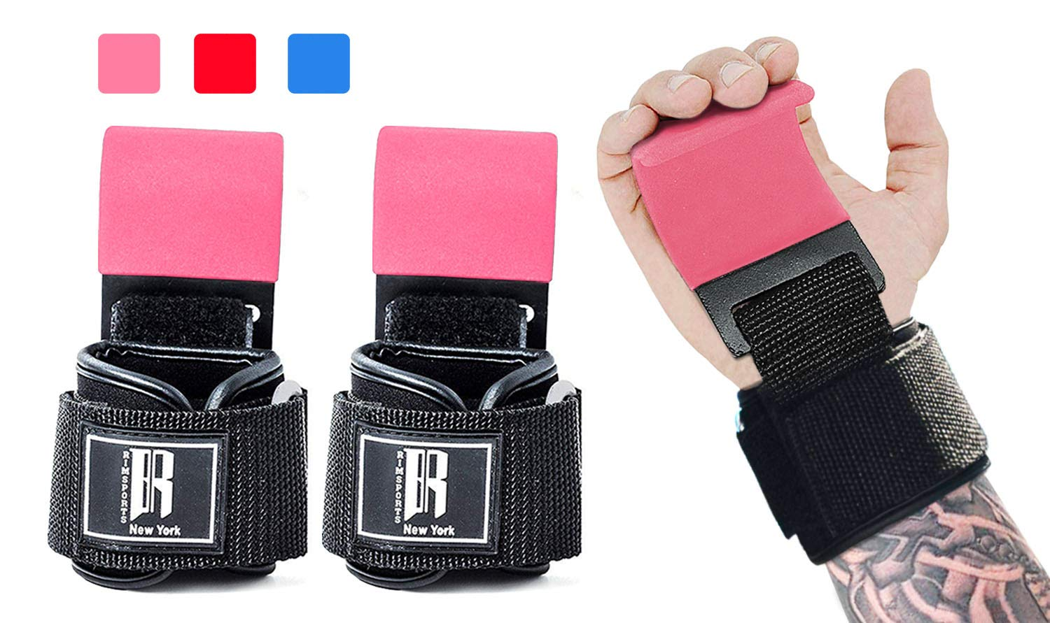 Weight Lifting Hooks Heavy Duty -Lifting Wrist Straps for Pull-ups - Deadlift Straps for Power Lifting - Weight Lifting Grips & Workout Straps for Weightlifting -Gym Gloves for Men & Women (Pink)