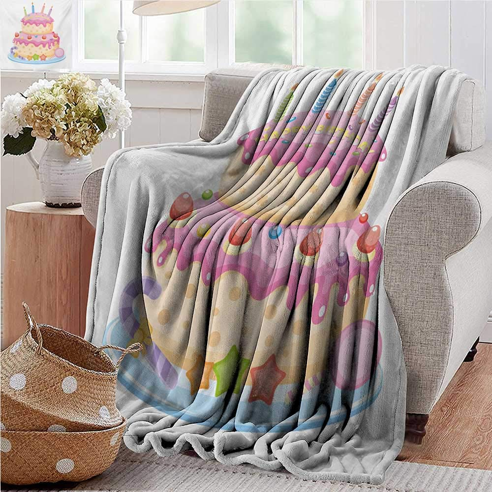 PearlRolan Wearable Blanket,Kids Birthday,Pastel Colored Birthday Party Cake with Candles and Candies Celebration Image,Pale Pink,300GSM, Super Soft and Warm, Durable 60''x80'' by PearlRolan
