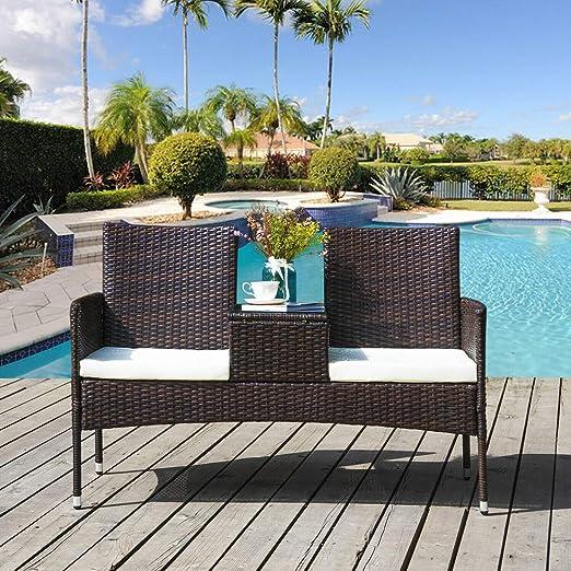 BOJU - Juego de 3 sillas y Mesa de Mimbre para jardín, Incluye 2 ...
