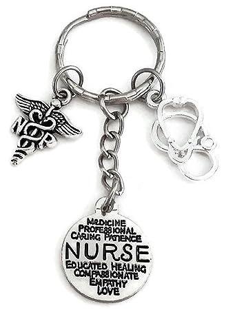 NP médico enfermera llavero, llavero, diseño de enfermera ...