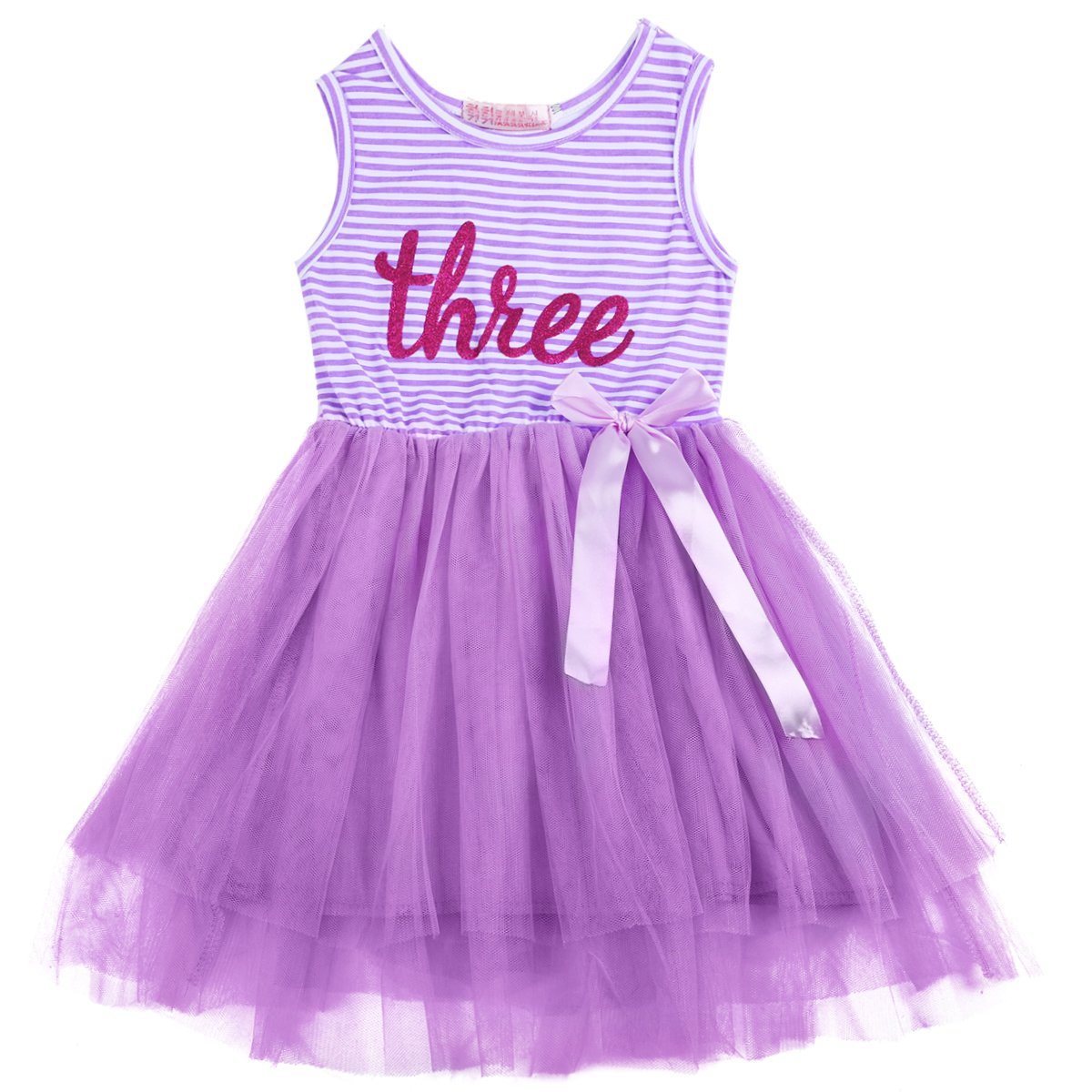 Newborn Baby Infant Toddler Girls Sleeveless Shinny Printed Crown 1st//2nd//3rd Birthday Dress Cake Smash Striped Tulle Tutu Skirt Party Outfit Bow Tie Dresses Princess Outfit For Kids 1-3 Years