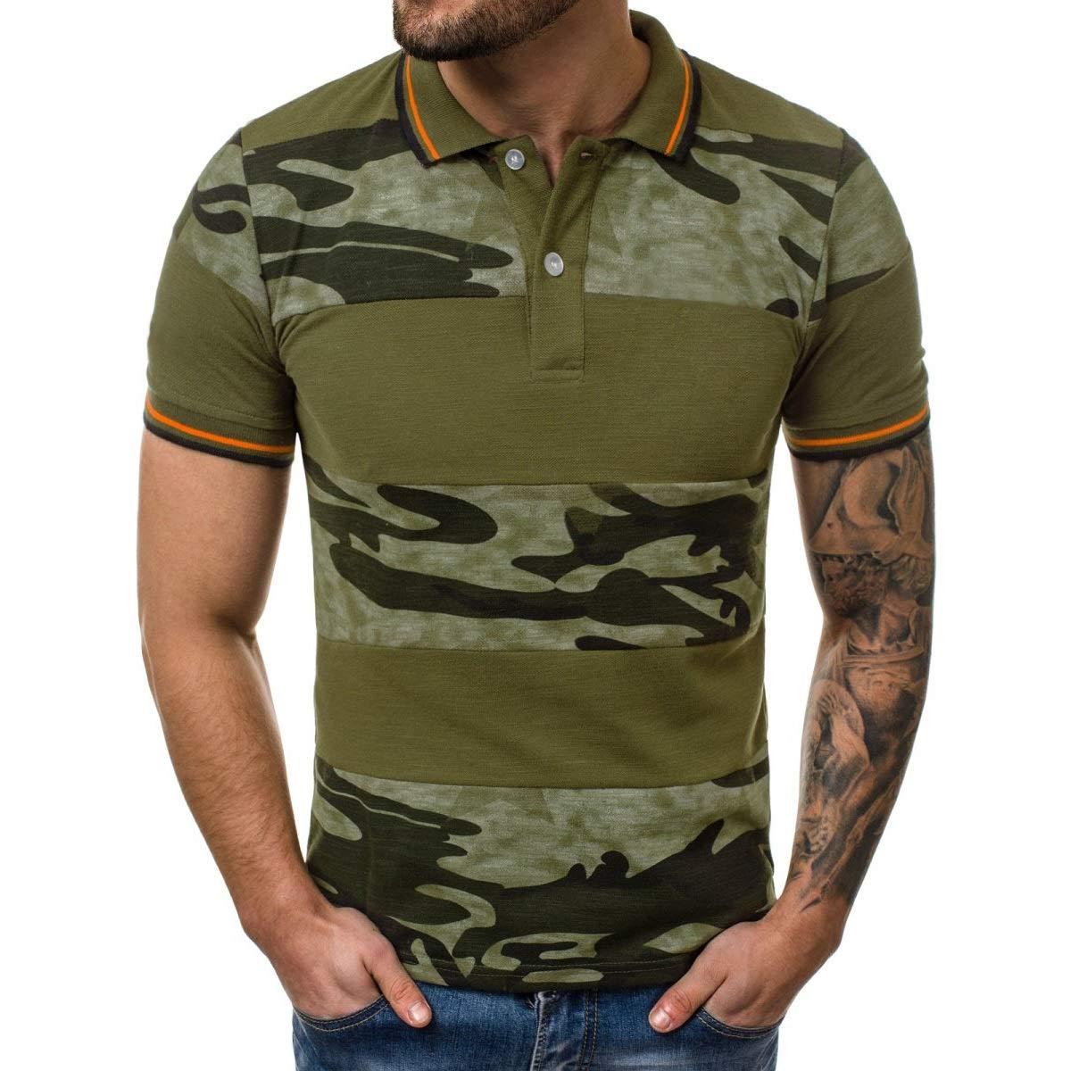 DKDUVQ Mens Stitching T-Shirt 3D Digital Printing,Camouflage European Code Short-Sleeved Mens Polo Shirt
