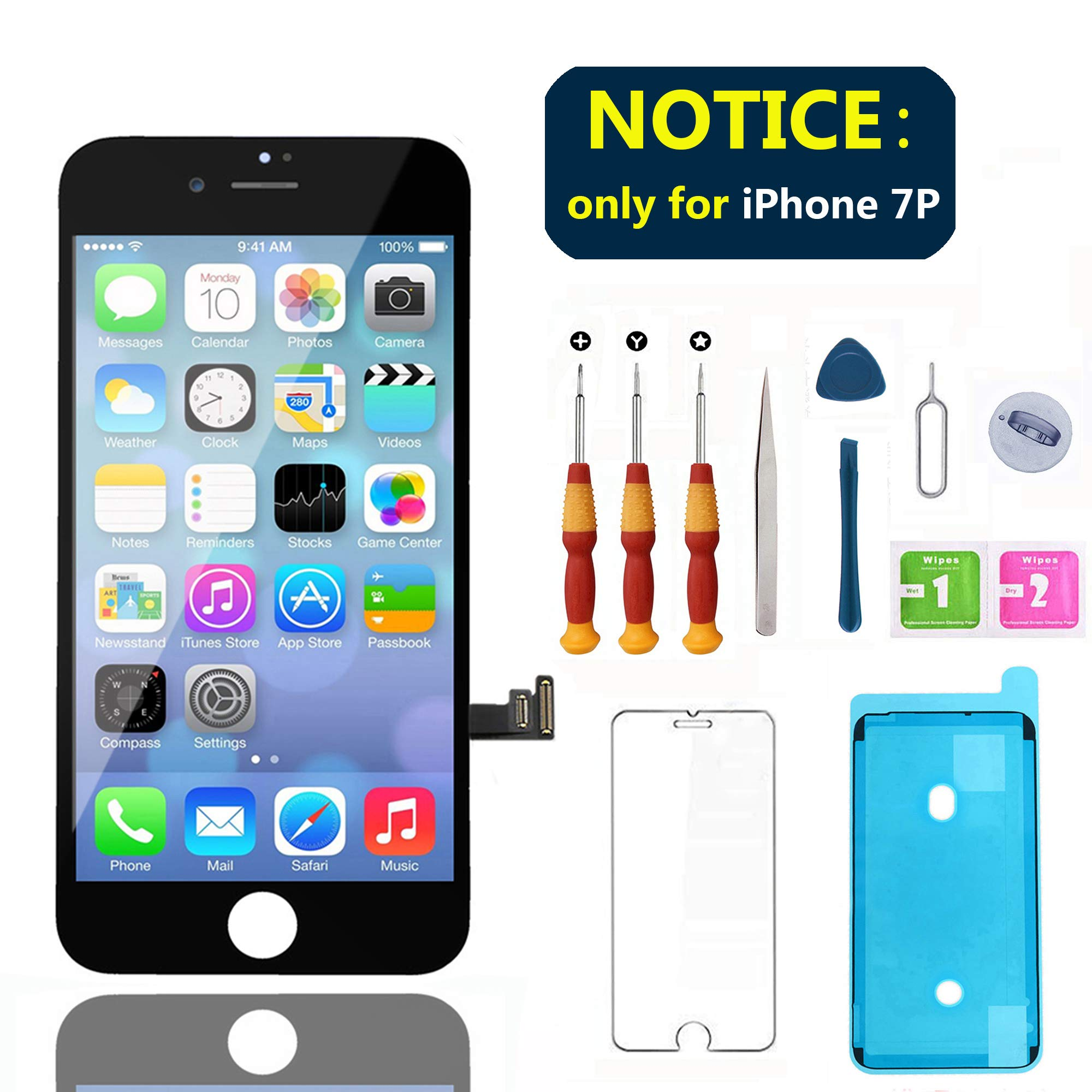 Swgrdin 3D Touch Screen Full Frame Assembly for iPhone 7 Plus Screen Replacement Black 5.5'', LCD Screen for iPhone 7 Plus Digitizer with Tool Kits and Screen Protector, A1661, A1784, A1785 Only by Swgrdin