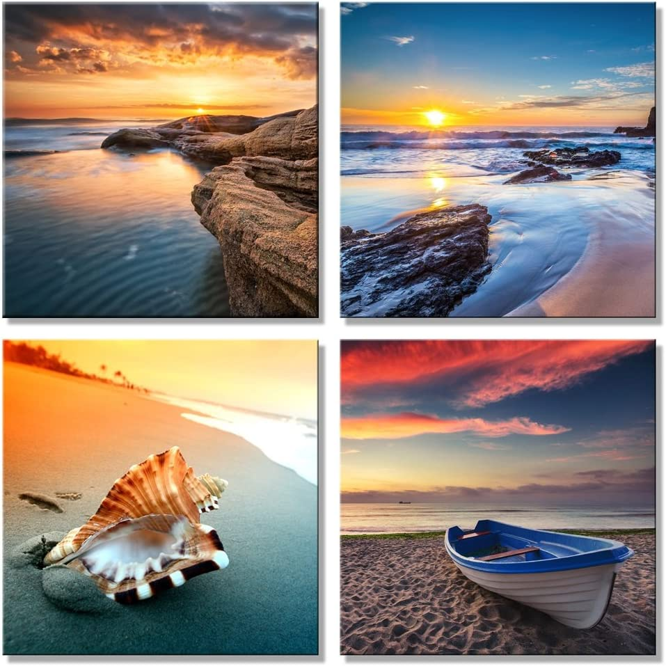 Pyradecor Large Sunset Sea Beach Modern Seascape Pictures Paintings on Canvas Wall Art 4 Panels Giclee Canvas Prints Artwork for Living Room Bedroom Home Office Decorations