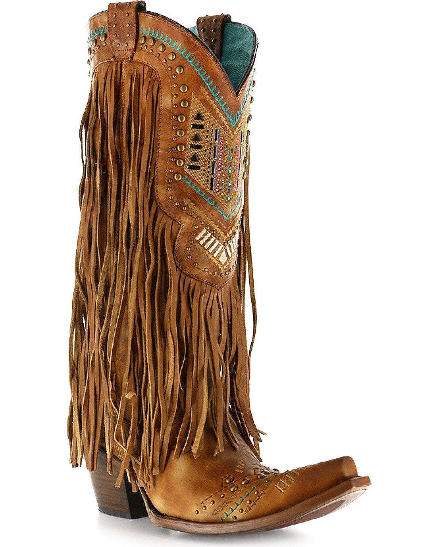 142fa85ae9c Corral Women's Honey Crystal Pattern Fringe Boot