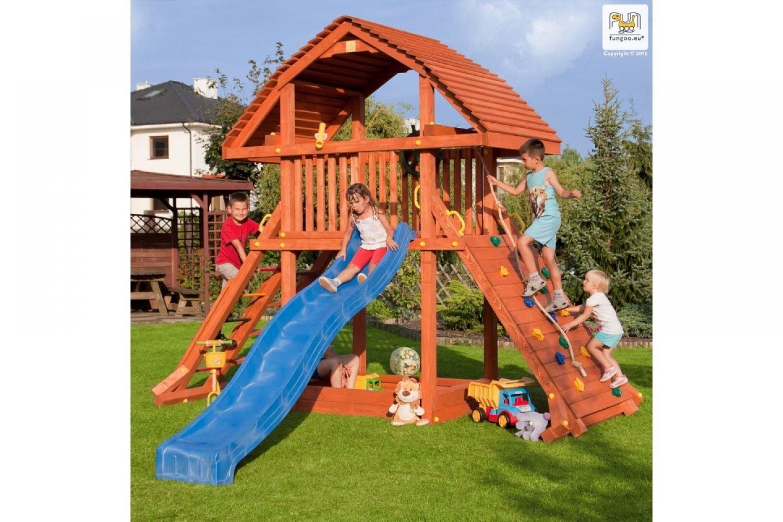 Fungoo ® Giant Spielturm mit Rutsche Farbe blaue Rutsche