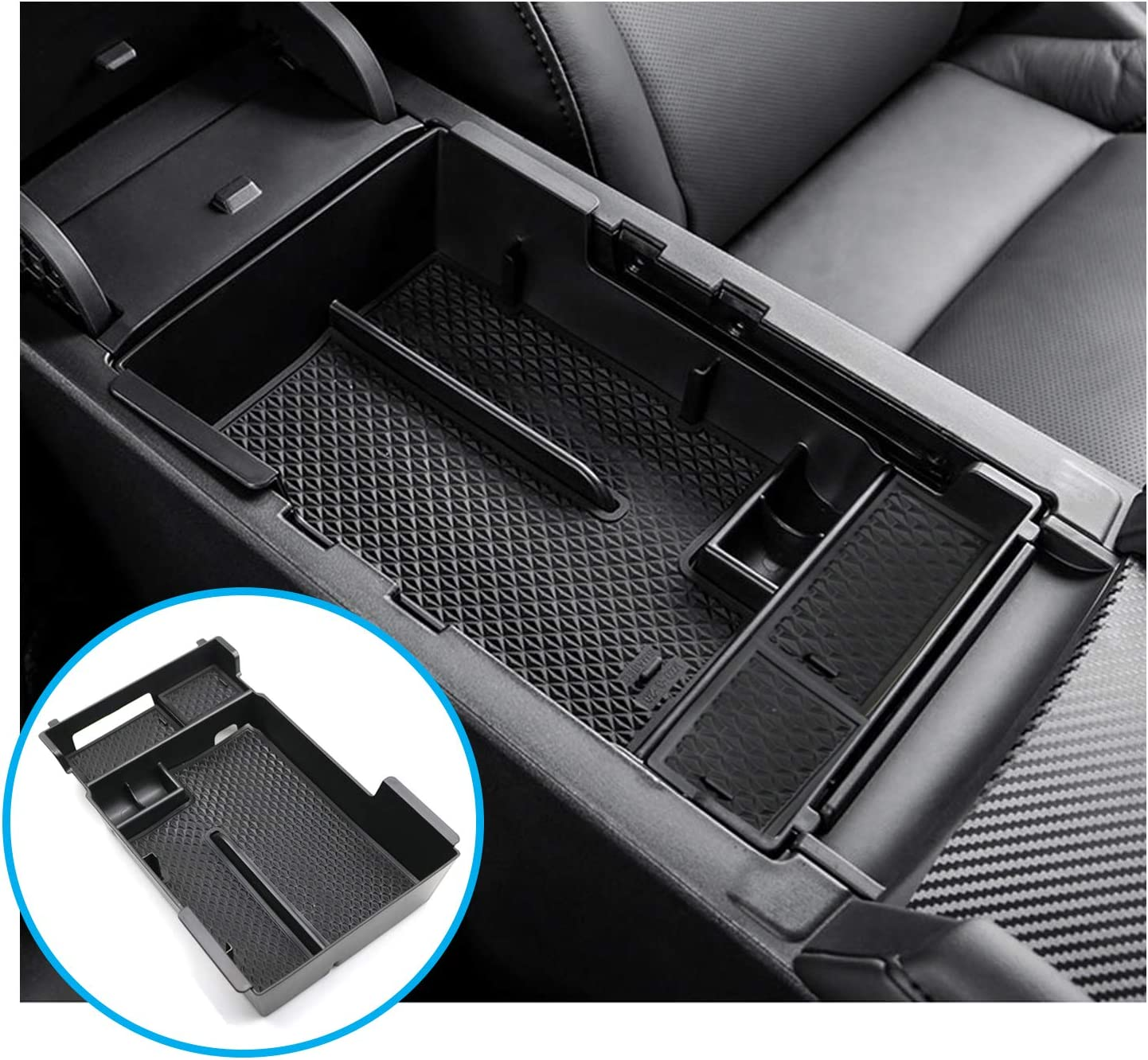 RUIYA Center Console Organizer Tray Compatible with 2019 2020 Mazda 3 Car Accessories Insert ABS Black Materials Tray Storage Box