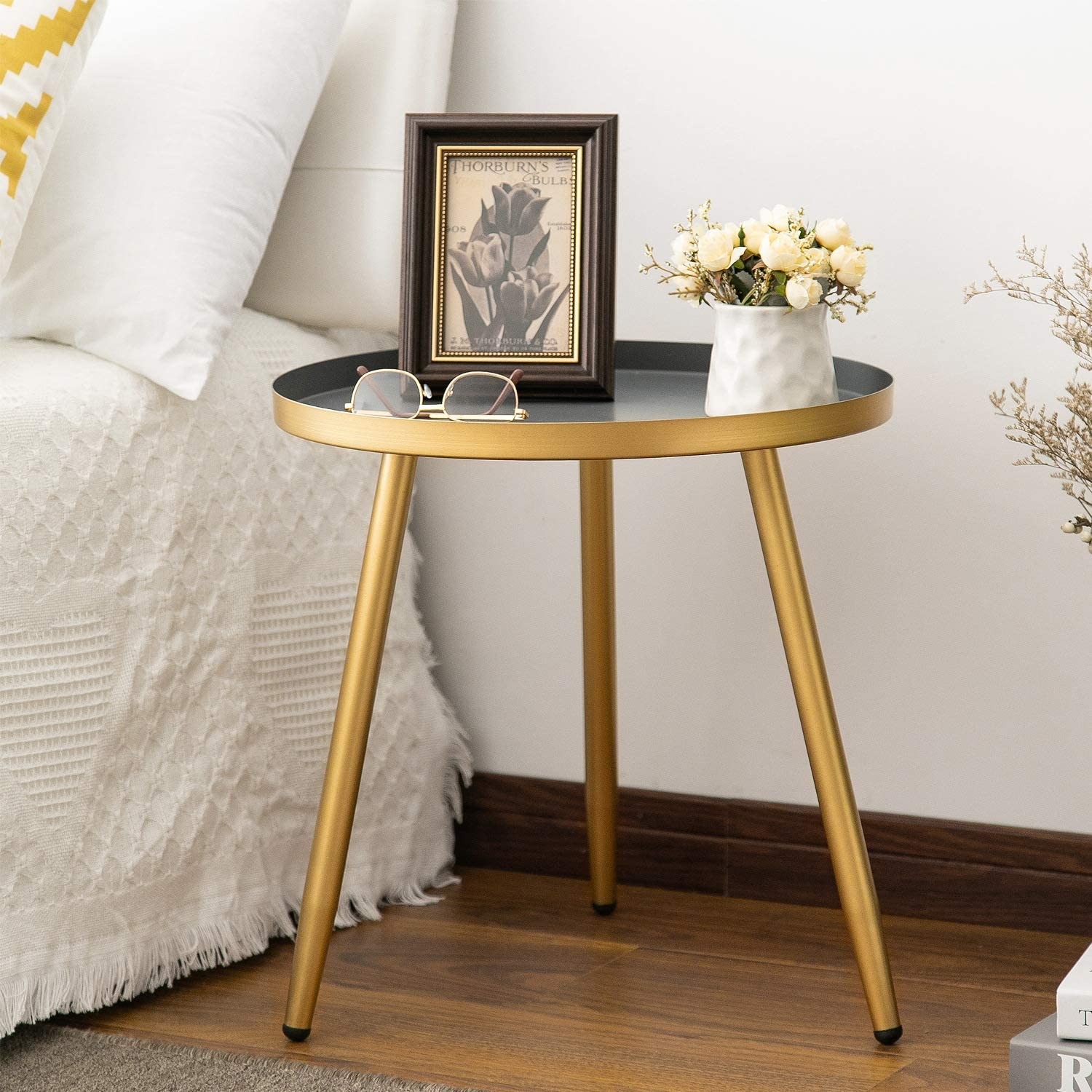 Round Side Table Metal End Table Nightstand Small Tables For Living Room Accent Tables Cheap Side Table For Small Spaces Gold Gray By Aojezor Kitchen Dining