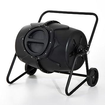 Outsunny - Balancín de jardín 170L Compost vaso Heavy Duty giratorio residuos papelera de reciclaje Tacho barril w/ruedas asas: Amazon.es: Jardín