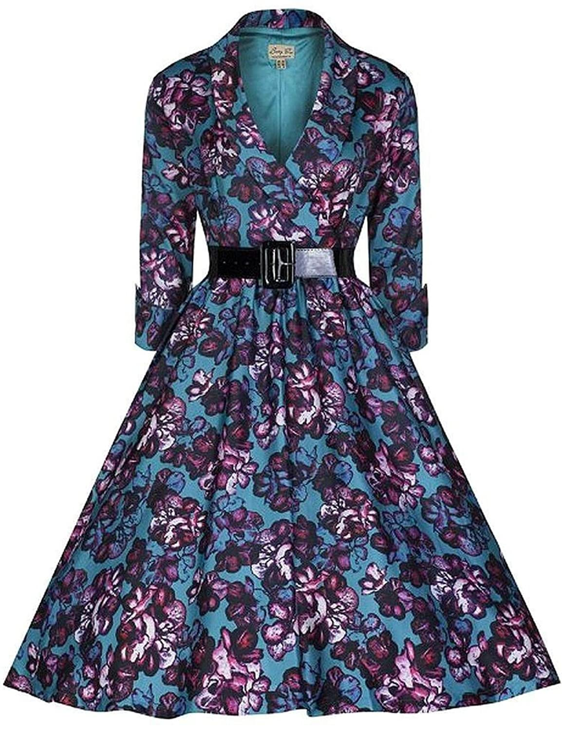 Babyonline Womens Vintage 3/4 Sleeve Belted Retro 1950s Casual Party Swing Dress