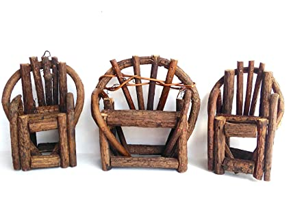 Miniature Fairy Garden Grapevine, Twig Bench And 2 Grapevine, Twig Chairs  Set (Set
