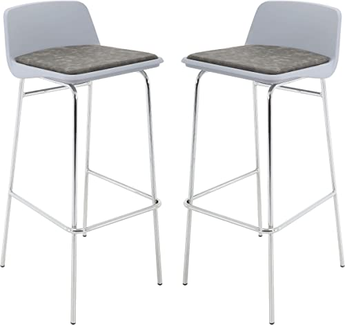 Brage Living Bar StoolBrage Living Low Back PP Seat Chrome Bar Stool Set with PU Leather Cushioned – Grey Set of 2