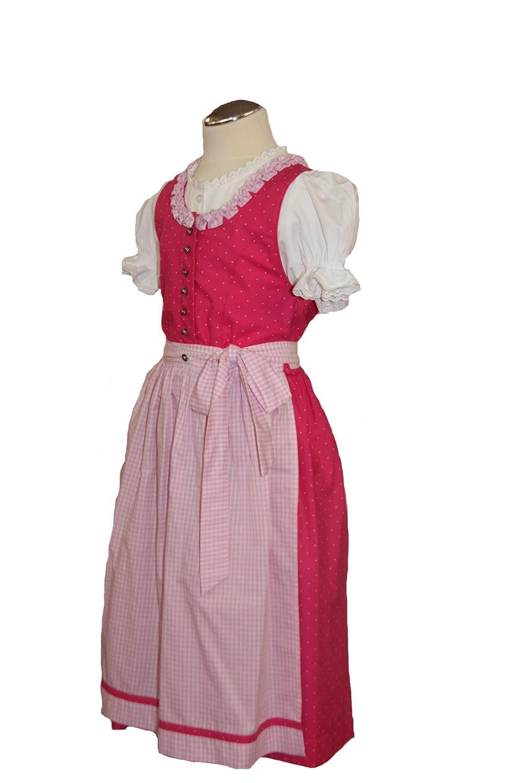 Süßes Kinderdirndl pink Franzi Set 3-tlg mit Bluse