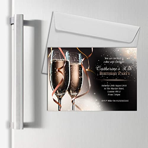 Personalised Magnetic Champagne Birthday Party Invitations