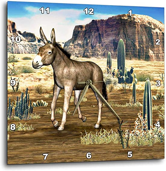3dRose dpp_62994_1 Donkey in The Southwestern Desert-Wall Clock, 10 by 10-Inch