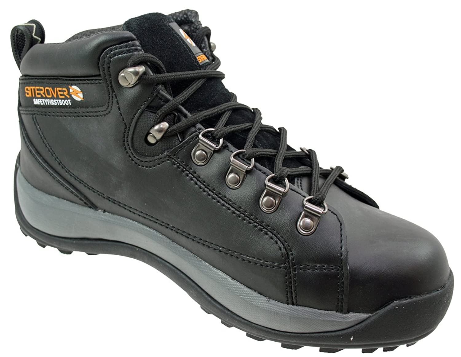 Siterover Mens Cheap Steel Toe Safety Work Boots Leather Working ...