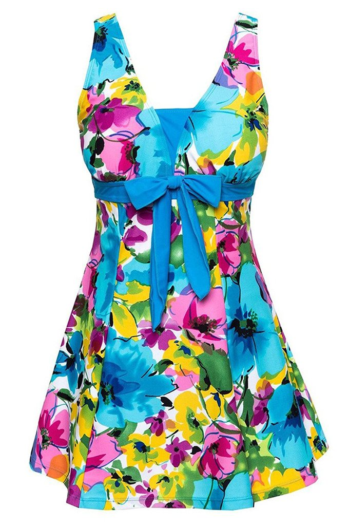 Ecupper Women's One-Piece Floral Plus Size Bathing Suit for Women
