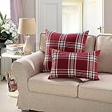 "MochoHome Linen Decorative Square Checkered Plaid Throw Pillow Cover Case Pillowcase Cushion Sham - 18"" x 18"", Red"