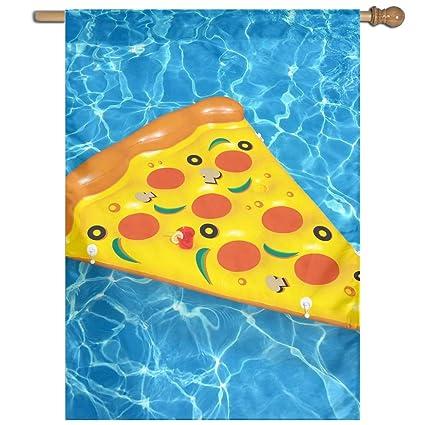 DFGTLY Bandera de jardín de moda para pizza de verano, piscina, flotador, bandera