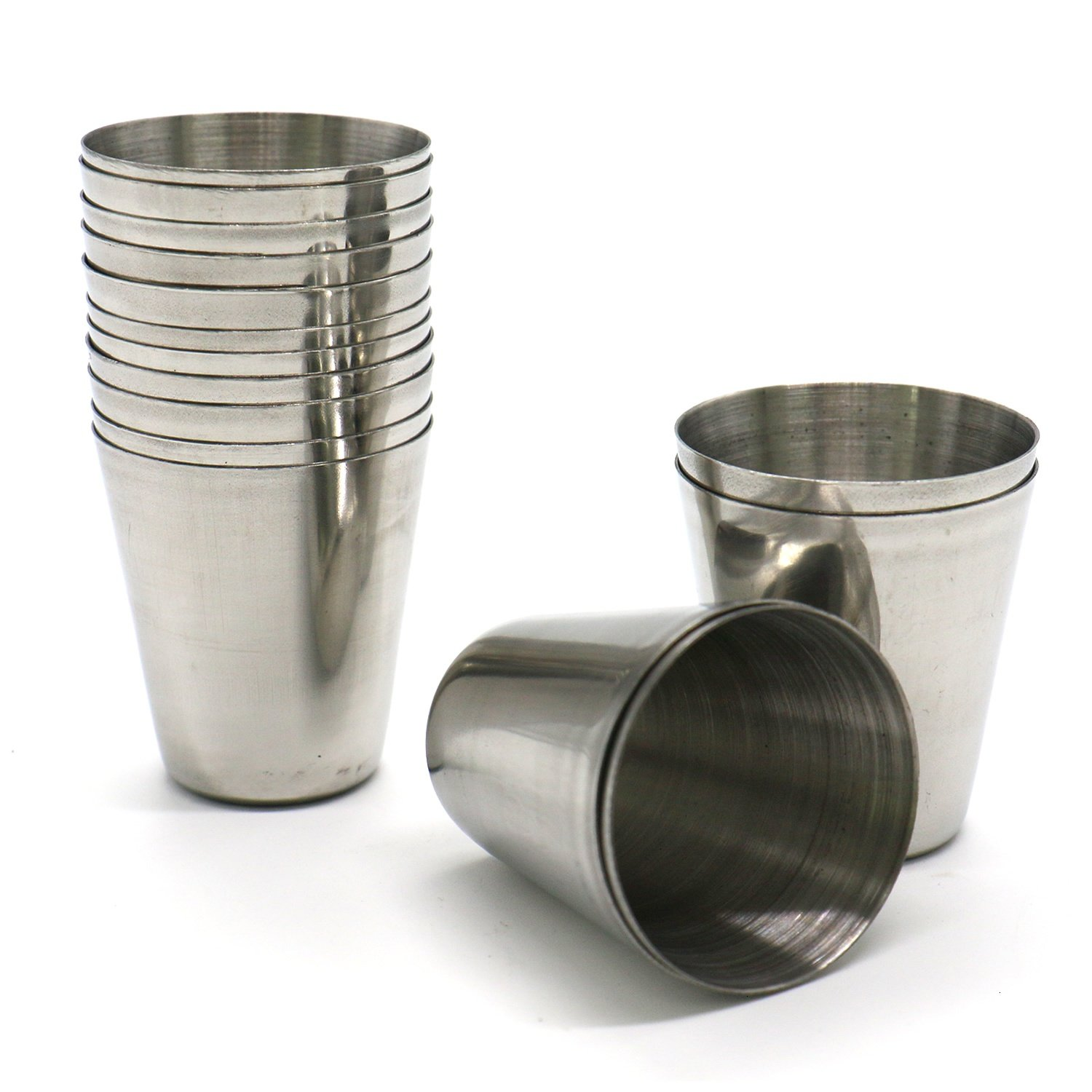 HUELE Set of 15pcs Stainless Steel Shot Glasses Drinking Vessel Drinking Cup Barware (1 Ounce)