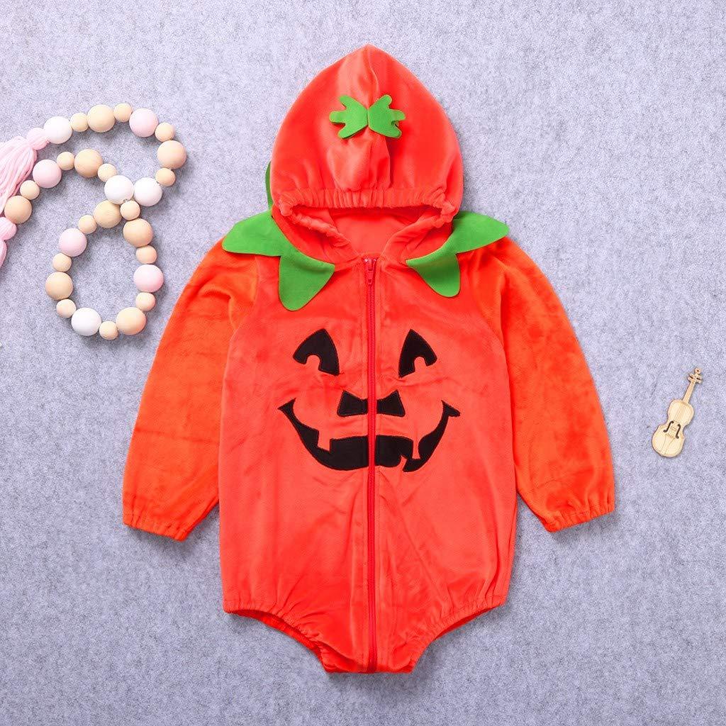Ropa de una Pieza Bebe Infantil Disfraz Halloween Fiesta Pelele Manga Corta Bebe Mono Cremallera con Capucha Calabaza Diablo Manga Larga Arriba riou