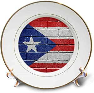 3dRose cp_156970_1 National Flag of Puerto Rico Painted onto a Brick Wall Rican Porcelain Plate, 8-Inch