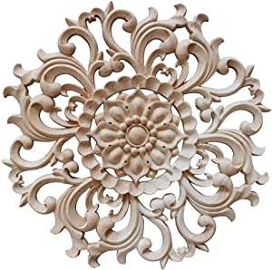 Jiyaru 1pc Wood Carved Flower Decal Unpainted Onlay Applique Furniture Decor 15cm #1