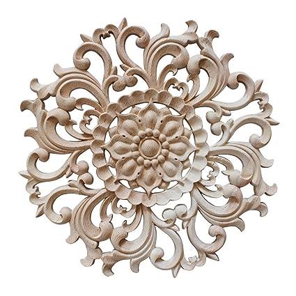 Jiyaru 1pc Wood Carved Flower Decal Unpainted Onlay Applique Furniture Decor 15cm 1