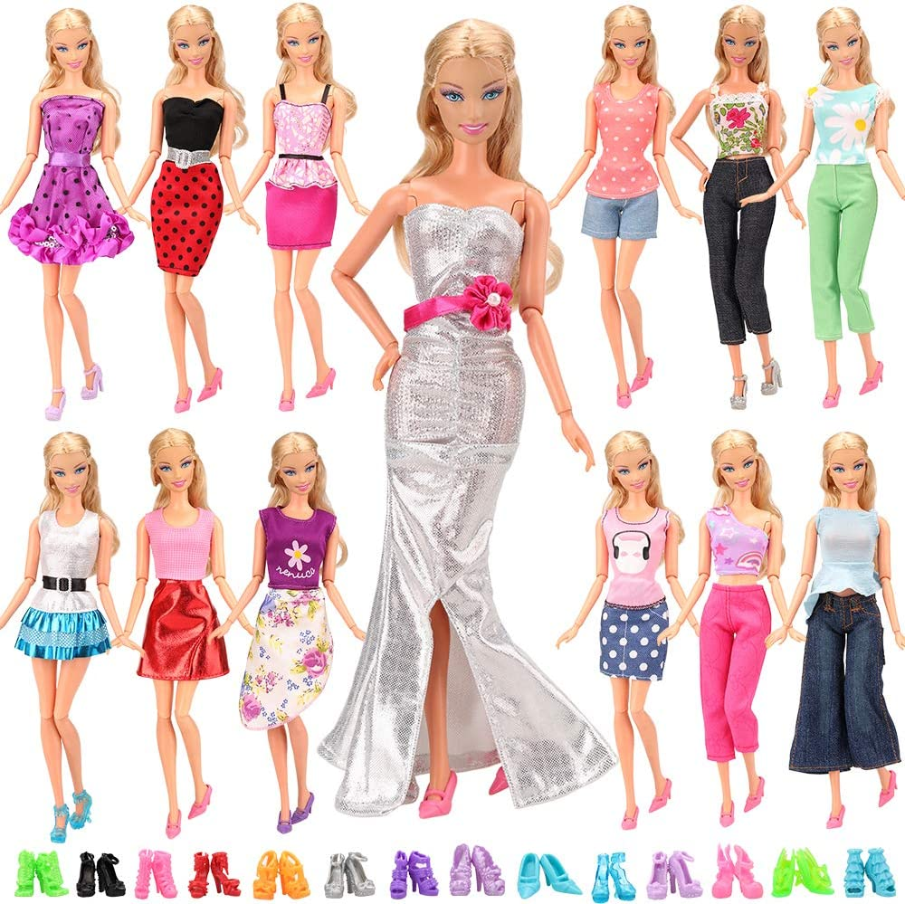 BARWA Lot 20 Items 10 Set Fashion Handmade Clothes Outfit 10 Pairs Shoes for 11.5 Inch Girl Doll
