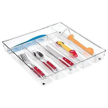 InterDesign Linus Caja para cubiertos, cubertero para cajones grande fabricado en plástico con 6 divisiones, transparente: Amazon.es: Hogar