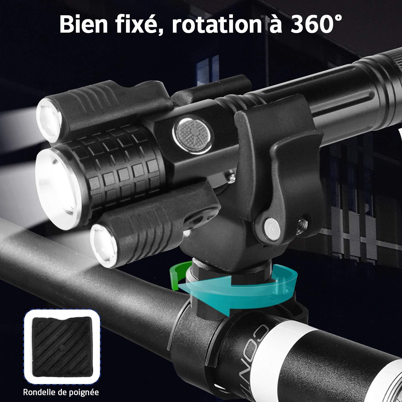 Lampe Torche LED GVOO Lampe de Poche 3 t/êtes Lampe de Poche Militaire Lampe Torche LED Puissante Cree LED 1000 Lumens Puissante avec Porte-Lampe de Poche v/élo