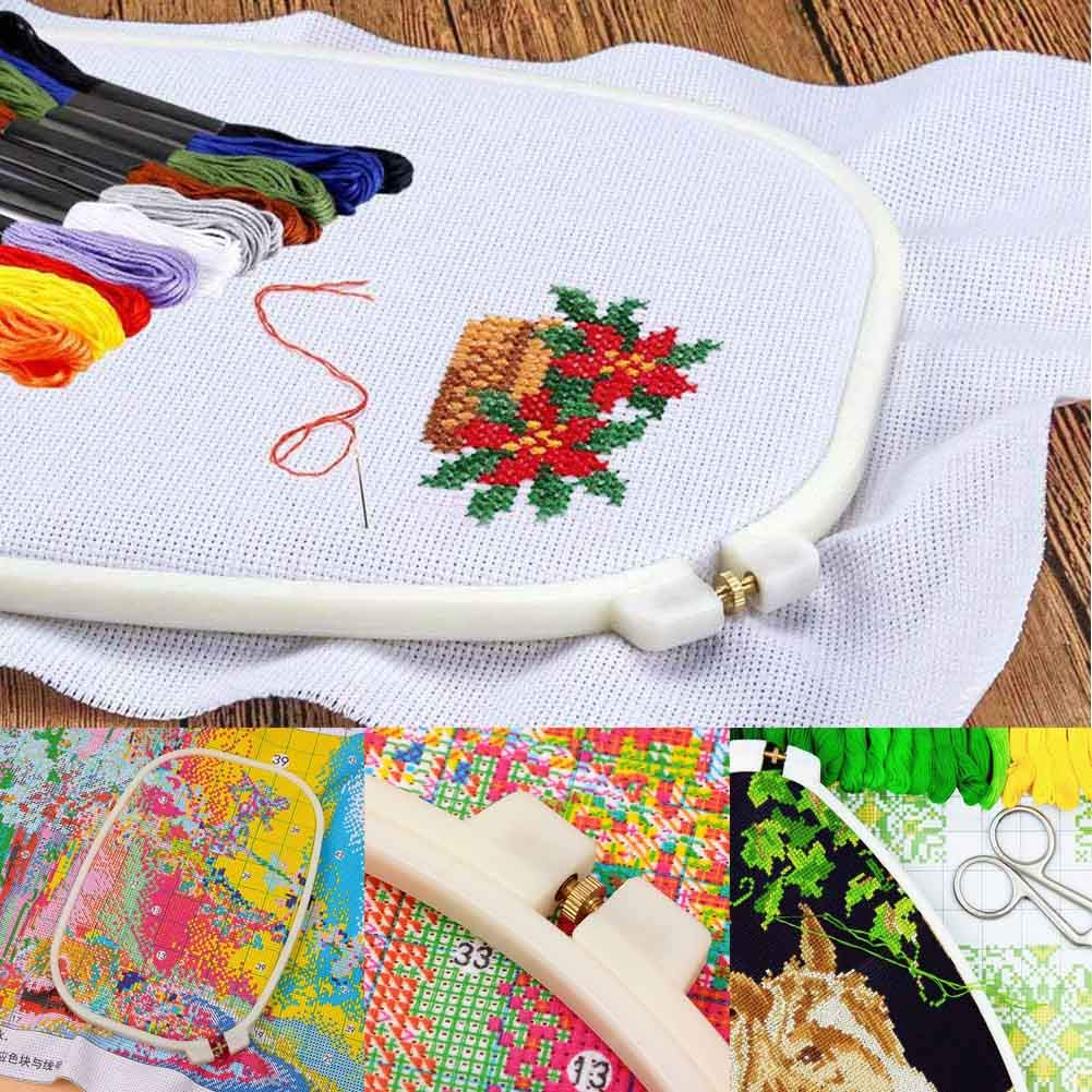 AIM Cloudbed 4 Piezas de Bordado de aro Rectangular Cuadrado Bordado Marco de Punto de Cruz aro Herramienta de Costura para Arte Craft Handy Costura