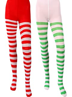 b2afb24b9af94 Blulu 2 Pairs Christmas Striped Tights Thigh High Socks for Christmas  Supplies