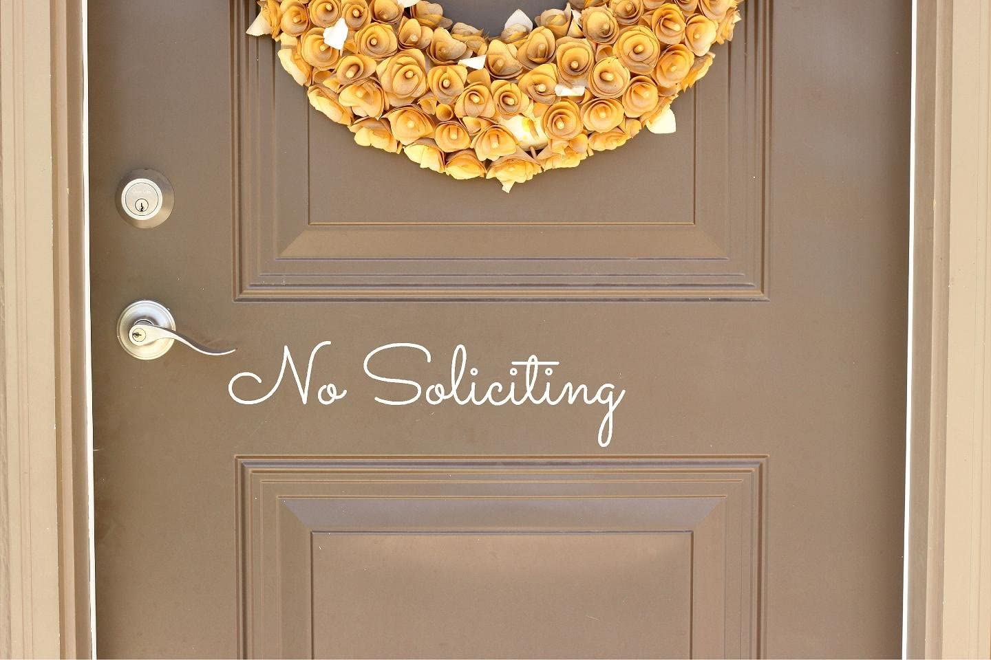 """No Soliciting - Vinyl Lettering Word Door or Wall Art Home Decal - 15"""" W x 4"""" H (White, Matte)"""
